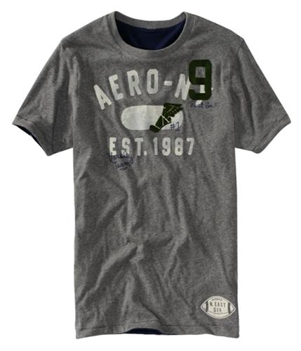 Aeropostale Mens Aero Reversible Veneer Graphic T-Shirt mediumgray S