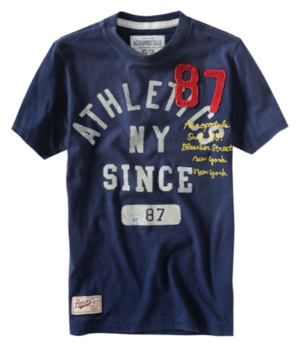 Aeropostale Mens Bleecker Street Embroidered Graphic T-Shirt navyni XS