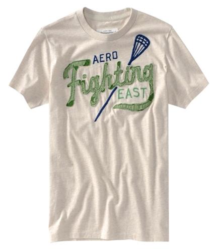 Aeropostale Mens Fighting Lacrosse Graphic T-Shirt oatmealwhite XS