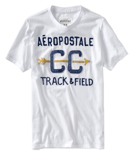 Aeropostale Mens Embroidered Cc Track Field T Graphic T-Shirt bleachwhite M