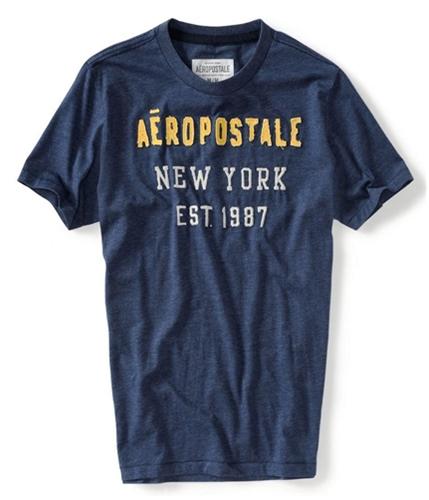 Aeropostale Mens New York Embellished Graphic T-Shirt navyni XS