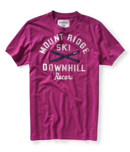 Aeropostale Mens Mount Ridge Ski Race Graphic T-Shirt magentapurple XS