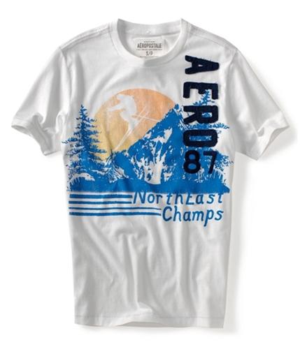 Aeropostale Mens Northeast Champs Ski Team Graphic T-Shirt bleachwhite S