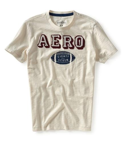 Aeropostale Mens Football Crew Graphic T-Shirt opaloffwhite S