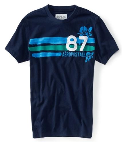 Aeropostale Mens 87 Painted Stripe Graphic T-Shirt navyni XS