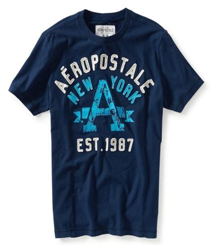 Aeropostale Mens Athletic Graphic T-Shirt navyni XS