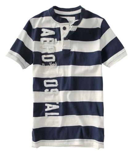 Aeropostale Mens Stripe Aero Henley Shirt navyblue XS