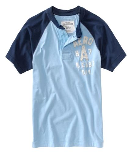 Aeropostale Mens Solid 8a7 N. East Div Henley Shirt spablue S