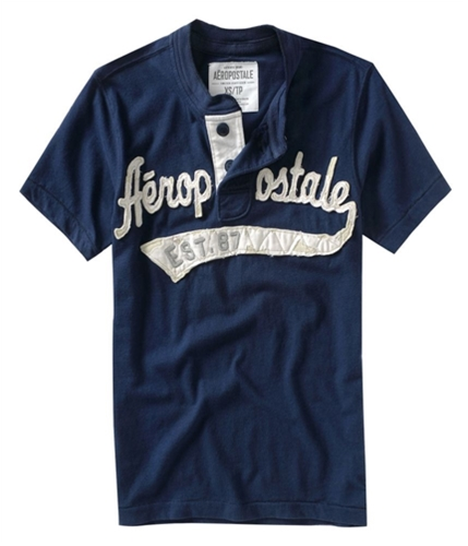 Aeropostale Mens Solid Embellished Henley Shirt navynightblue XS