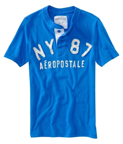 Aeropostale Mens Solid Ny 87 Henley Shirt activeblue XS