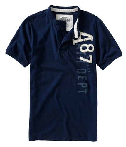 Aeropostale Mens Solid A87 Raised On Front Henley Shirt navynightblue M