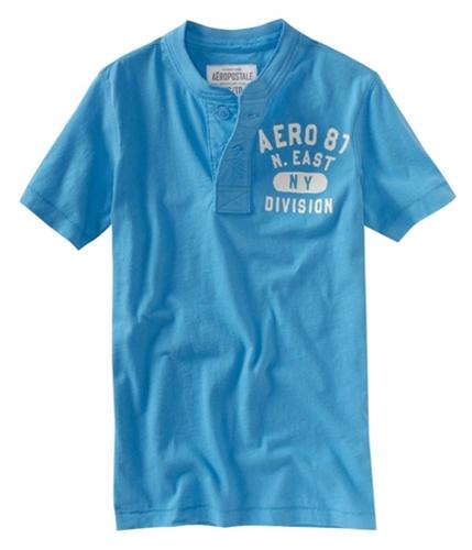 Aeropostale Mens Solid Aero Screen Print Henley Shirt lightblue S
