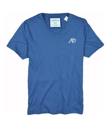 Aeropostale Mens A87 V-neck Graphic T-Shirt bluedu XS