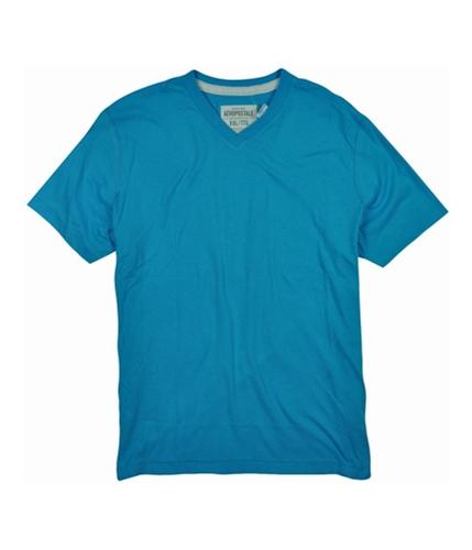 Aeropostale Mens Solid V-neck Graphic T-Shirt curacaoaqua XS