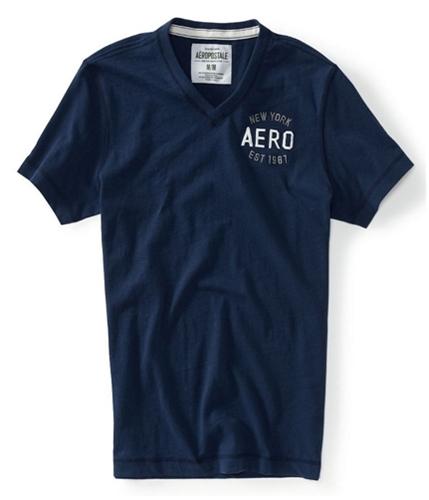 Aeropostale Mens V-neck Est 1987 Graphic T-Shirt navyni XS