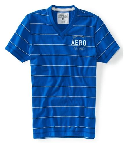 Aeropostale Mens V-neck Stripe Embellished Graphic T-Shirt active XS