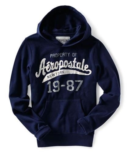 Aeropostale Mens Pocket New York 1987 Hoodie Sweatshirt navyniblue XS