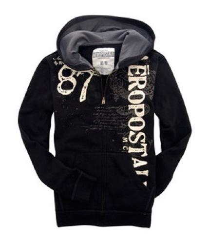 Aeropostale Mens Graphic Skate Full Zip Hoodie Sweatshirt black XL