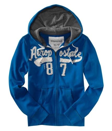 Aeropostale Mens Frayed Est 87 Hoodie Sweatshirt bluen XS