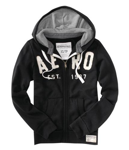 Aeropostale Mens Zippered Aero Est 1987 Hoodie Sweatshirt black M