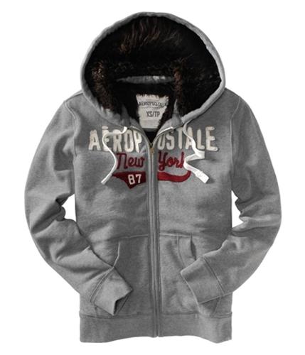 Aeropostale Mens New York Fur Lined Core Hoodie Sweatshirt medgre M