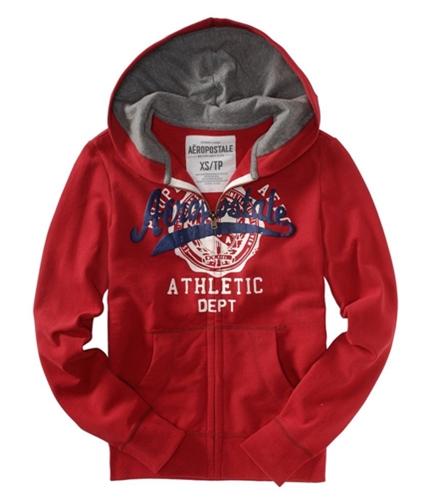 Aeropostale Mens Solid Graphic Hoodie Sweatshirt red M
