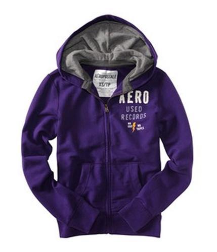 Aeropostale Mens Aero Used Records Zip Up Hoodie Sweatshirt playpurple M