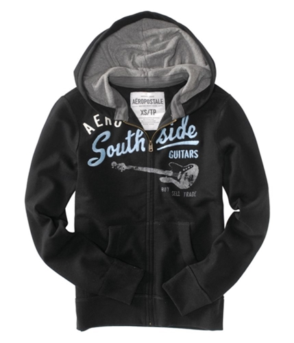 Aeropostale Mens Zip-up Embroidered Hoodie Sweatshirt black XS