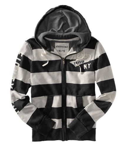 Aeropostale Mens Thick Stripe Zip Up Hoodie Sweatshirt charcoalgray 2XL