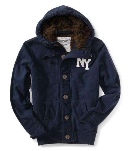 Aeropostale Mens Ny Fur Lined Core Hoodie Sweatshirt deepnablue XS