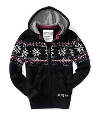 Aeropostale Mens Fair Isle Print Full Zip Hoodie Sweatshirt black XS
