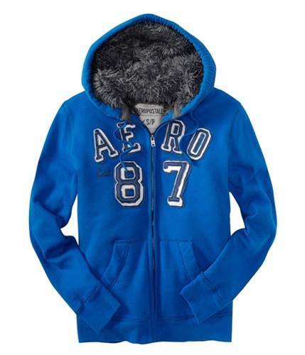 Aeropostale Mens Fullzip Aero 87 Fur Lined Hoodie Sweatshirt activeblue XS