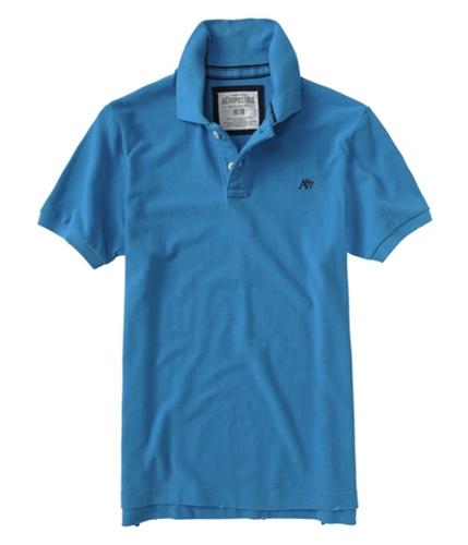 Aeropostale Mens Solid A87 Uniform Rugby Polo Shirt bahamaaqua XS