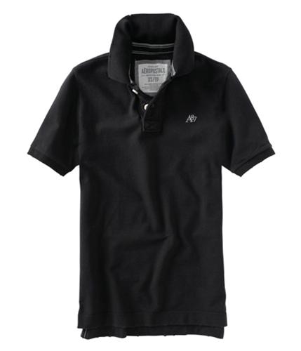 Aeropostale Mens Solid Uniform Logo Rugby Polo Shirt black XS