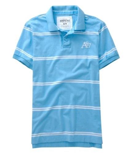 Aeropostale Mens A87 Logo Multi Stripe Rugby Polo Shirt blueyellowaqua XS