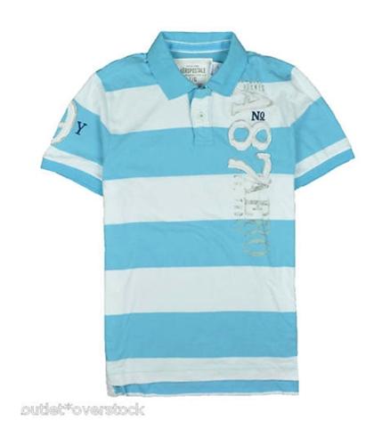 Aeropostale Mens A87 Stripe Rugby Polo Shirt blueyellowaqua M