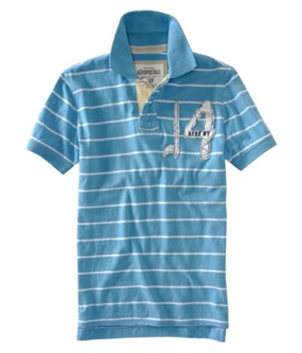 Aeropostale Mens Stripe Embellished Rugby Polo Shirt sportyblue S