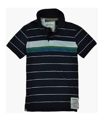 Aeropostale Mens Stripe Rugby Polo Shirt navynightblue S
