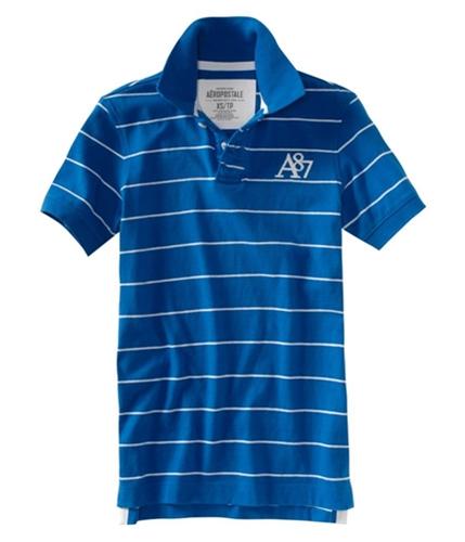 Aeropostale Mens Stripe A87 Rugby Polo Shirt activeblue XS