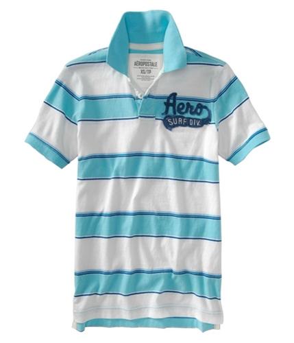 Aeropostale Mens Stripe Aero Surf Div. Rugby Polo Shirt barleyblueaqua L