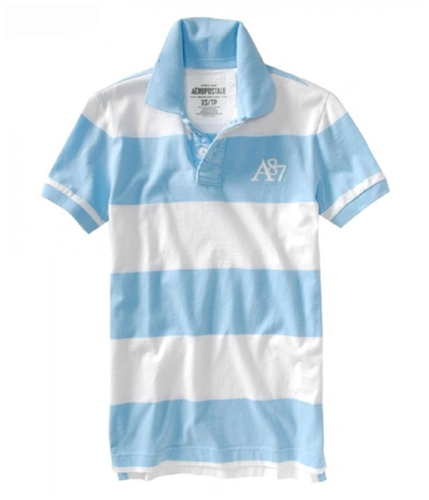 Aeropostale Mens Thick Stripe Rugby Polo Shirt spablue XS