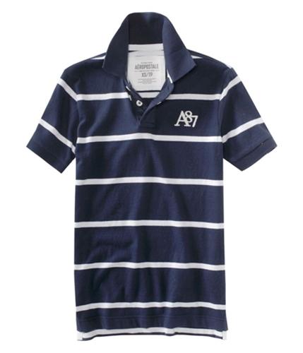 Aeropostale Mens Stripe A87 Rugby Polo Shirt navyni XS