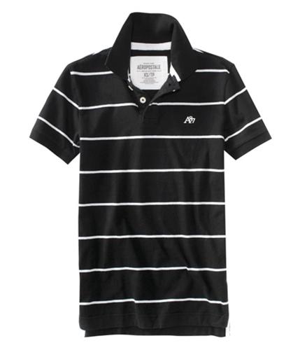 Aeropostale Mens Stripes A87 Rugby Polo Shirt black XS