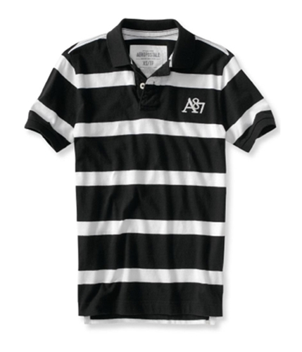 Aeropostale Mens Stripe A87 Logo Rugby Polo Shirt black XS