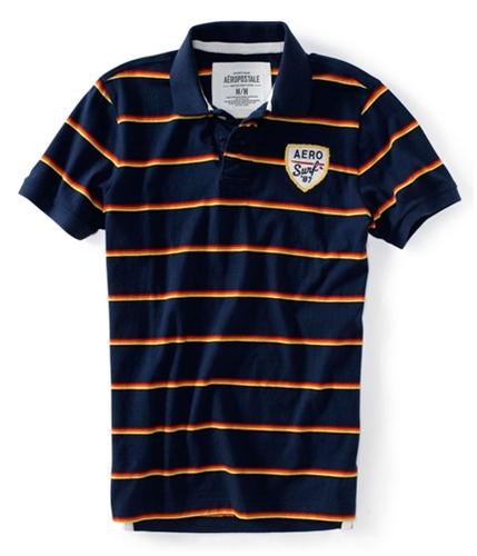 Aeropostale Mens Aero Surf '87 Embellished Rugby Polo Shirt navyni XS