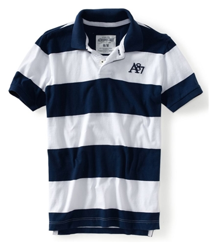 Aeropostale Mens 2 Button Stripe Rugby Polo Shirt 413 XS
