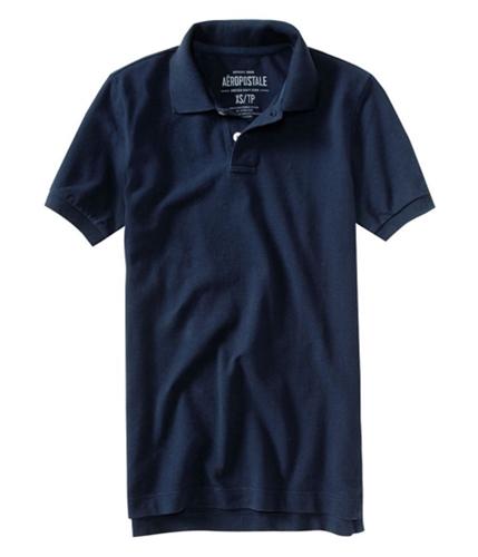 Aeropostale Mens Solid Uniform Rugby Polo Shirt deepna XS