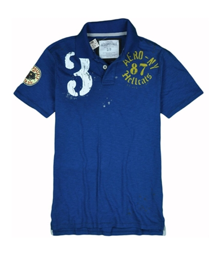 Aeropostale Mens # 3 Hellcats Rugby Polo Shirt lunablue S