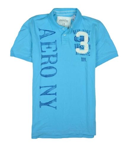 Aeropostale Mens Aero # 3 Rugby Polo Shirt blueyellowaqua XL