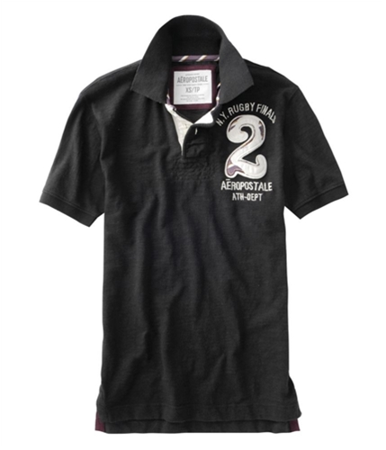 Aeropostale Mens Ny Finals # 2 Rugby Polo Shirt black XS